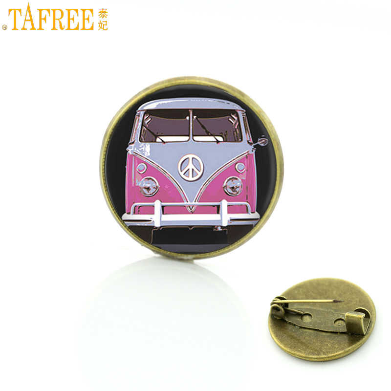 TAFREE new vintage Hippie Peace Sign Bus brooches glass cabochon car photo badge brooch pins fashion men women jewelry CT89