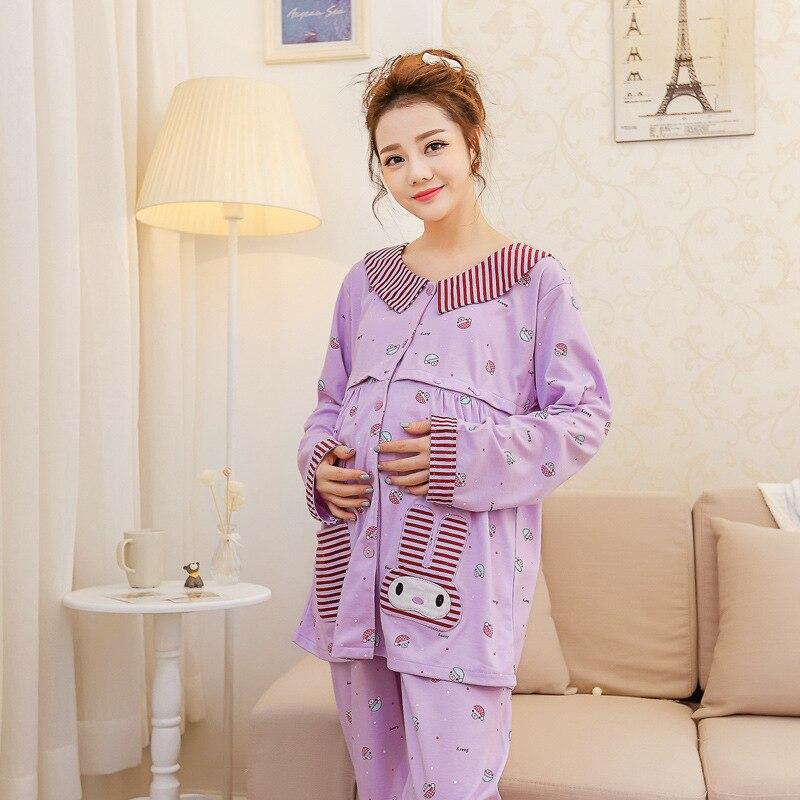 89591ae8fe7f4 spring maternity home lactation night suit cute cotton cardigan pregnant  women pyjamas postpartum nursing pijama enceinte P515-in Sleep & Lounge  from Mother ...