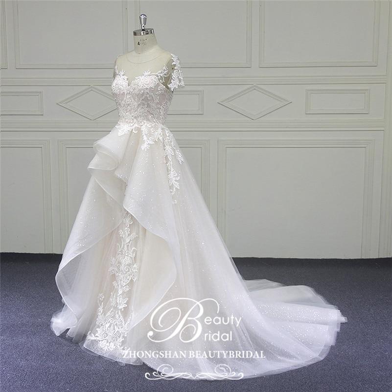 Image 2 - Beautybridal Custom made lace Beads Wedding Dresses round illusion neckline wedding gown short sleeves Vestido de Noiva LS706Wedding Dresses   -