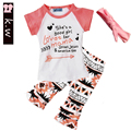 Girls Clothing Sets 2017 Brand Girls Clothes White Letter Short Sleeve T-Shirt+Floral Shorts+Tie 3Pcs Children Clothes