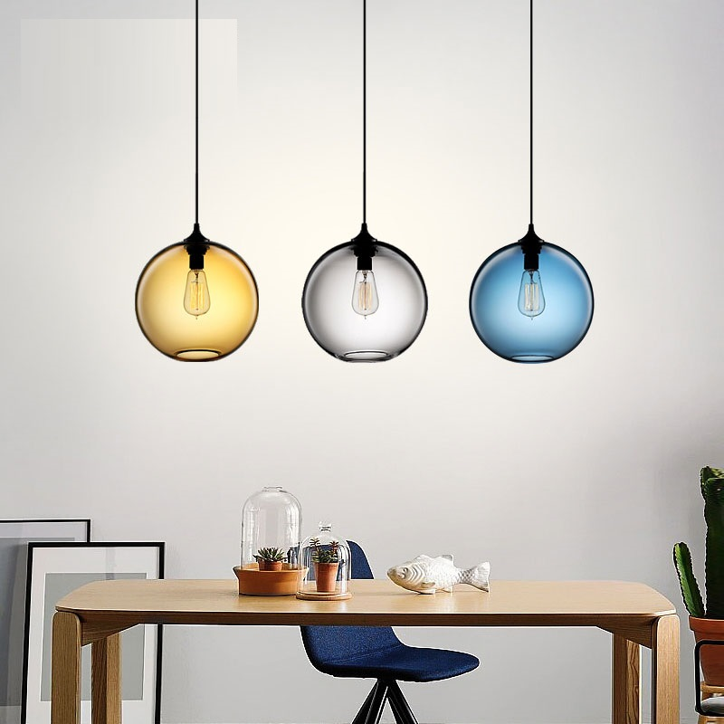 Creative Colorful Glass Lampshade Pendant Light Round Glass Lamp Moden Pendant Lamp Lustres Fixtures for Bar RestaurantCreative Colorful Glass Lampshade Pendant Light Round Glass Lamp Moden Pendant Lamp Lustres Fixtures for Bar Restaurant