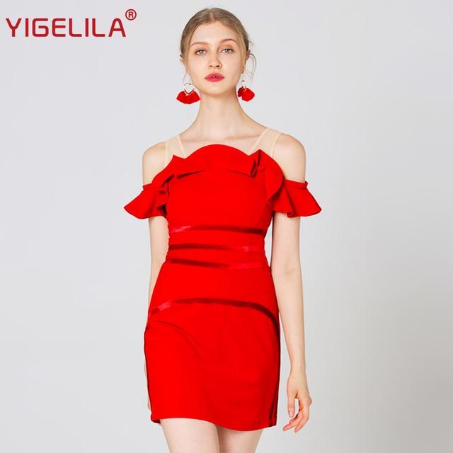 YIGELILA 2019 Fashion Women Red Mini Party Dress Summer Solid Slash Neck Off Shoulder Ruffles Empire Slim Bodycon Dress 64138