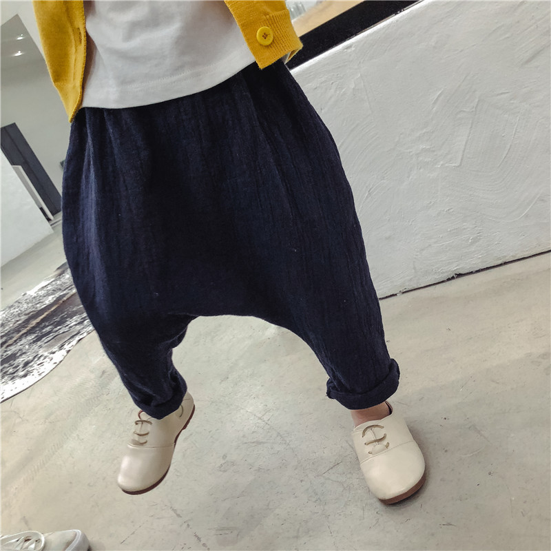 bb0a7ae1a0b Solid Boys Harem Pants Cotton Casual Girls Clothes Spring Kids Pants Linen  Boys Clothes