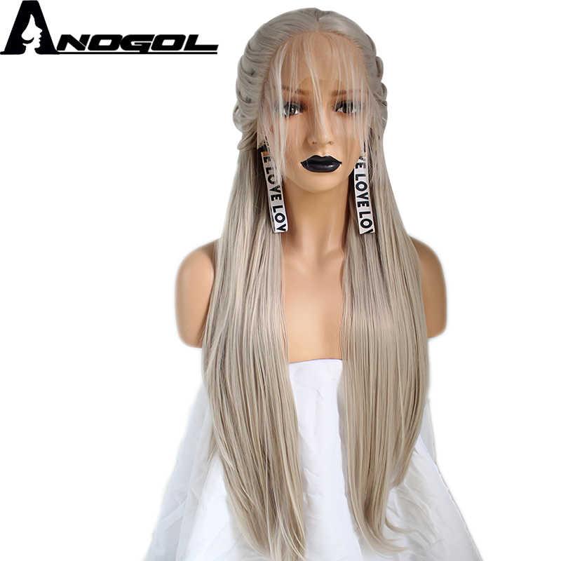 Anogol ручная вязка Плетеный длинный прямой платиновый блонд розовый серебряный серый черный темно-коричневый синтетический парик для фронта шнурка детские волосы