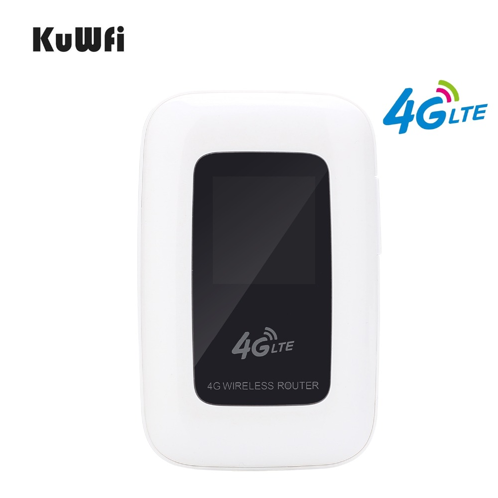KuWfi 4G LTE Wireless Router Mini Portable 3G/4G FDD TDD WIFI Router 4G Mobile Wi-fi Hotspot Car-Wifi Router With Sim Card Slot 4g lte mobile wifi wireless router hotspot led lights supports 10 users portable router modem for car home mobile travel camping