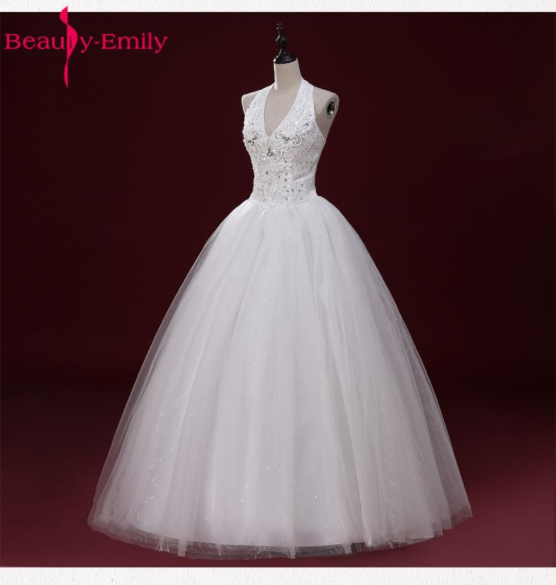 Beauty Emily Real Photo Korean Cheap Long Wedding Dresses 2017 Women Halter Floor Length Long Lace Wedding Party  Bridal Dresses