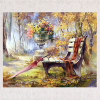 Full Embroidered Living Room Decoration Home Arts Crafts DIY 5D Diamond Painting Resin Square Diamonds Chair and Red Umbrella
