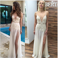 2016 Sexy V Neck Backless Evening Dresses Berta Ivory Lace Appliqued A-line Side Split Floor-Length Formal Gown Cheap Prom Dress