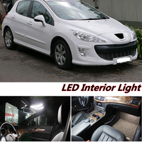 7pcs X Free Shipping Error Free LED Interior Light Kit Package For Peugeot 308 Accessories 2008
