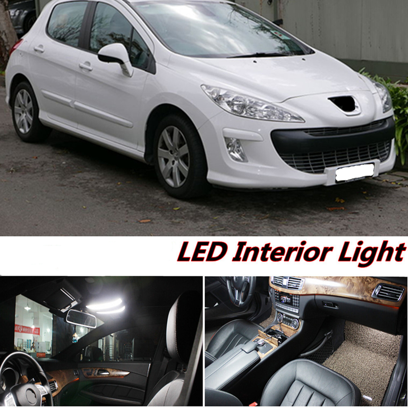 Tcart 7pcs X free shipping Error Free LED Interior Light Kit Package for peugeot 308 accessories 2008- 2016 tcart 7pcs free shipping error free auto
