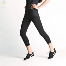 2016 Women Black Figure Flattering Booty Sports Pants Capri Gym Leggings Running Tights Fitness Yoga Super