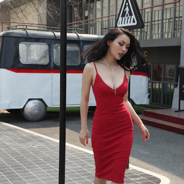 4ae3abe8a71 Sexy Plunge V neck Elastic Bodycon Cami Dress Women Party Robe Strap Dress  Summer Chic Slip Dress