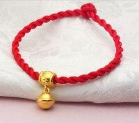 Pure 999 24k Yellow Gold 3D Baby Belling Pendant String Bracelet