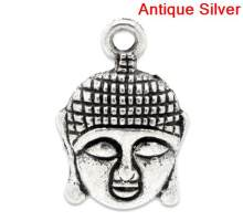 "Zinc metal alloy Charm Pendants Buddha Antique Silver 22mm( 7/8"") x 15mm( 5/8""), 7 PCs new(China)"
