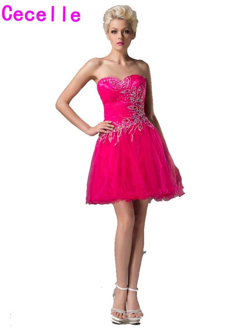 Weddings & Events Nett Rosa 2019 Homecoming Kleider A-linie Cap Sleeves Knie Länge Tüll Spitze Perlen Elegante Cocktail Kleider