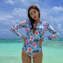 6b9062850b Rhyme Lady Long Sleeves Rash Guard Women sexy Surf Swimwear Floral One  Piece backless Swimsuit for Diving bathing Suit