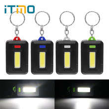 iTimo LED Flashlight COB Torch Emergency Light Lamp 3 Modes Portable Lighting Keychain Light for Hiking Camping(China)