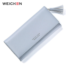 WEICHEN Long Hasp Tassels Wallet For Women, Solid Color Change Purse Coin Pocket Card Holder Fashion Lady Wallets Clutch Female