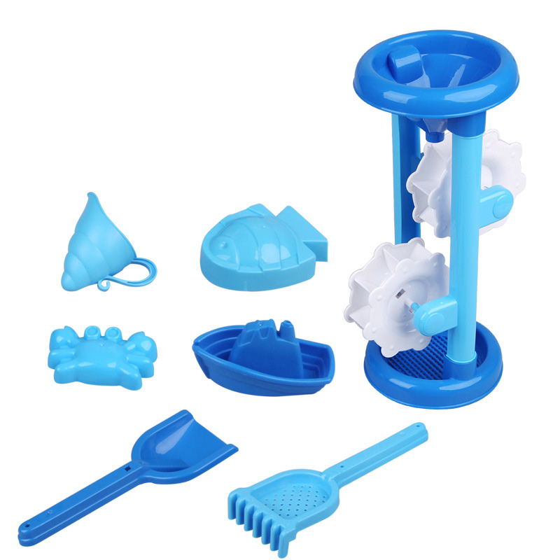 SLPF 7 Piece Set Summer Children Paddle Beach Toys With Hourglass Shovel Sand Mold Kids Baby Parent-child Outdoor Game Hot G36