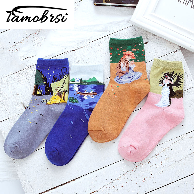 Art Romantic Cartoon Illustration Street Socks Van Gogh Renaissance Oil Paint Cotton Socks Abstract Happy Funny Women Socks