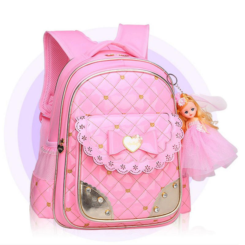 Childrens 8-year-old girls waterproof backpack glitter back pack fashion schoolbags PU skin butterfly backpack bag student