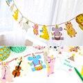 15 шт./упак. 2 м счастливая семья душа ребенка мультфильм животных гирлянда в полоску бумаги флаги баннер декор день рождения ну вечеринку принадлежности для детей