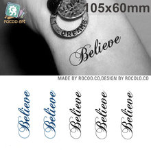 Sexy Tattoo Stickers Body Art Harajuku Fake Tattoo Waterproof Temporary Tattoo Stickers Men Women Letter Believe Design
