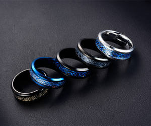 aldrich Blue Black Silvering Titanium Couple Jewelry