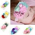 Bebé recién nacido Diadema diadema de flores de encaje de Perlas de Diamantes niñas Elasticidad headwear accesorios Del pelo del Bebé accesorios de fotografía