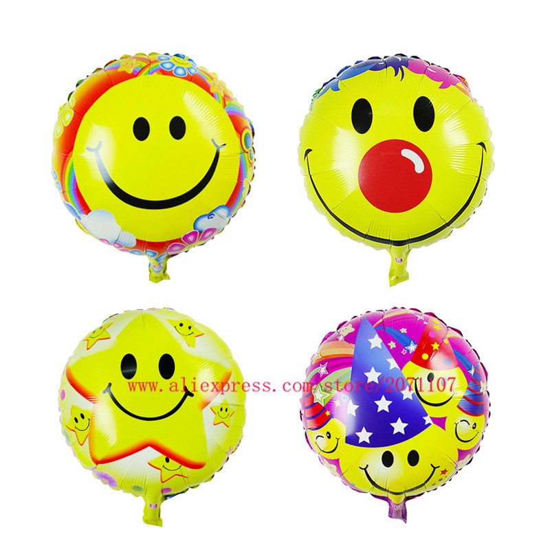 Lucky 50pcs/lot 18 inch Expression Balloons Smile Face Foil Balloons Birthday Party Suppplies Wedding Decoration Inflatable Toys