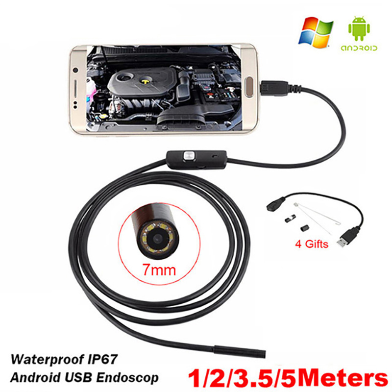 Prostormer Endoscope Camera 7mm USB and Android 1/2/3.5m Snake Tube Inspection PC Android Endoscopic Borescope Camera 30