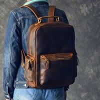 Бренд Дизайн Для мужчин рюкзак из натуральной кожи Crazy Horse Винтаж рюкзак карман Повседневное рюкзак Винтаж сумка ручной работы