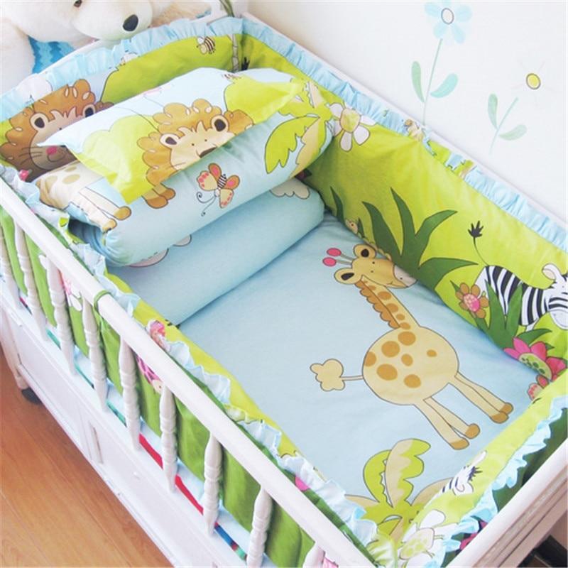6Pcs Baby Crib Cotton Bed Bumpers Bedding Set Kids Bedding Sets Newborn Baby Bed Set Crib