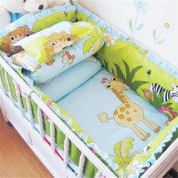 6 uds. Juego de cama de algodón para cuna de bebé, juego de cama para niños, conjunto de cama para bebé recién nacido, parachoques para cuna, juego de cuna para bebé