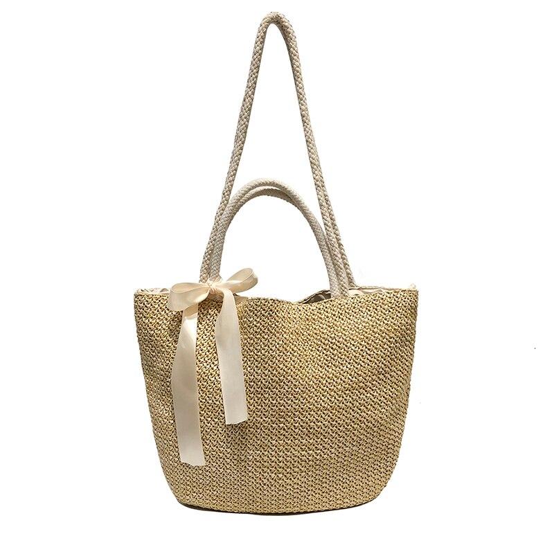2019 Bow Large Capacity Of Bags For Women Fashion Beach Straw Woven Bags Summer Rattan Basket Shoulder Bag Round Handbag Сумка