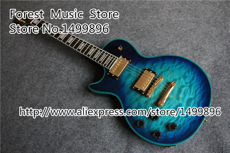 Top Quality Vintage Blue Quilted Finish China LP Custom Guitar Electric Left Handed Guitars For Sale china custom shop transparant grey finish lp electric guitars with mahogany solid body for sale