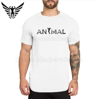 Muscleguys Brand Clothing Mens Extra Long Length Tops Tee ANIMAL GYMS T Shirt Bodybuilding Shirt Fitness