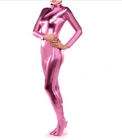 Special price! brand Sexy Unicolor Fancy Dress Tight Shiny Metallic Zentai Catsuit Bodysuit Women men Jumpsuit Leotard