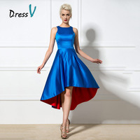Eye Catching Blue and Red Cocktail Dresses A Line Jewel Asymmetric Cocktail Dress Girls Party Dress 2017