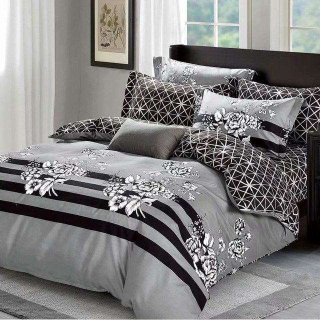 Bedding Sets Russia Europe Israel Size Luxury Duvet Cover Set Single King Queen Family Linens Set Bedclothes Gray flower