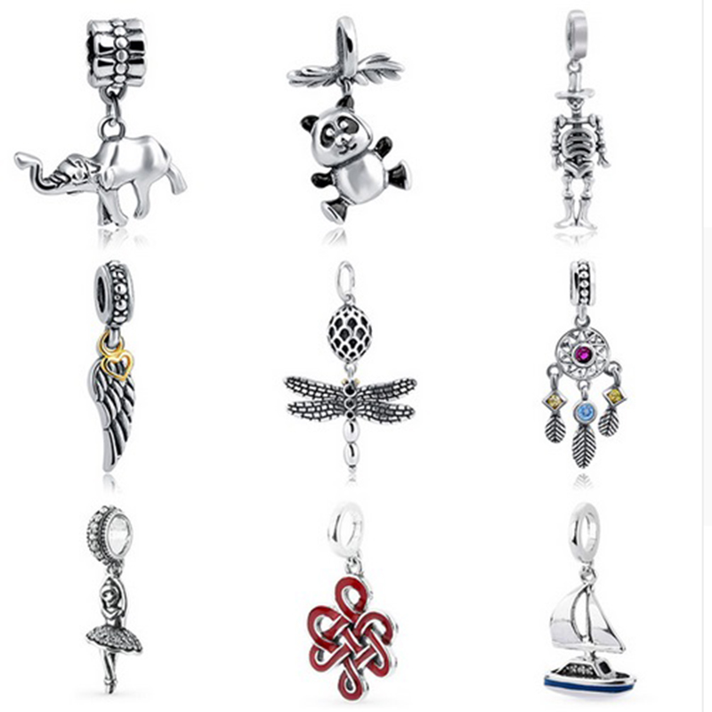 High quality skull Chinese knot panda wings Charms silver