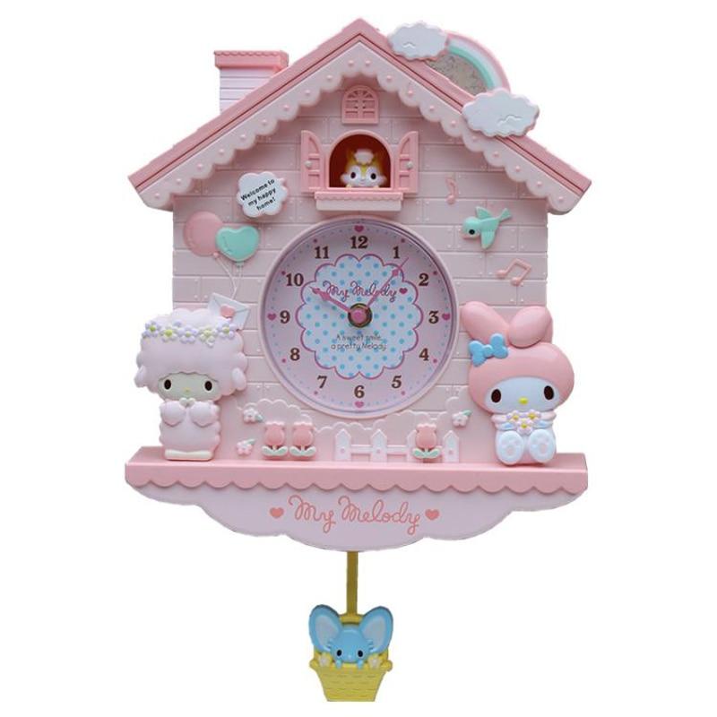 Novelty 12 Inch Cartoon  Hello Kitty  My Melody Swing  Kids Girls Wall Quartz Clock  Home Decro For Bedroom Liveroom