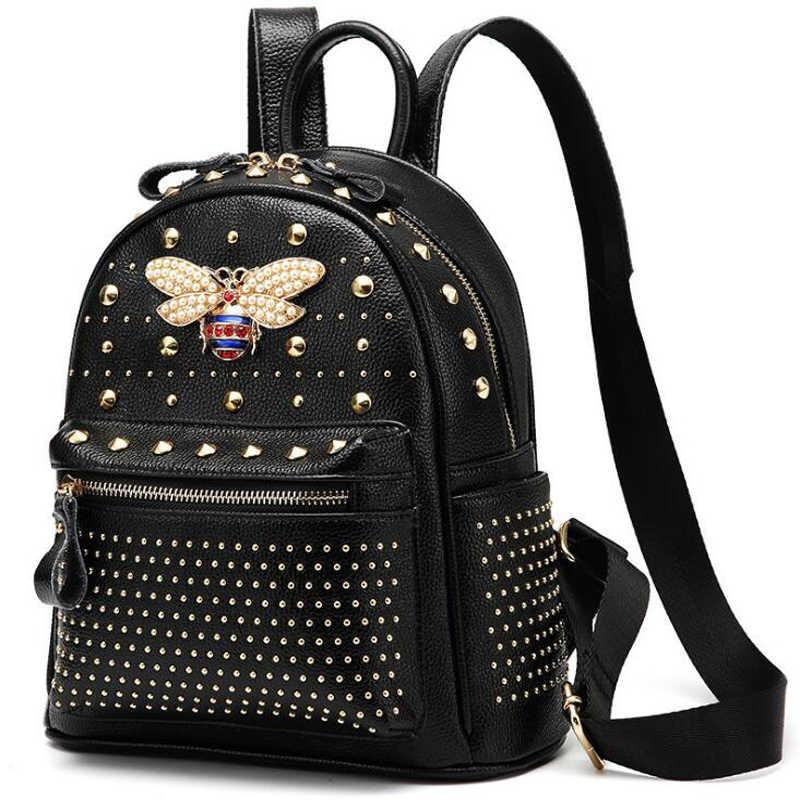 2019 Nuovo Arrivato Donne di Modo sacchetto di Ape Diamante Borse Perla Rivetto di Spalla di Viaggi del Sacchetto di Scuola del Cuoio Genuino Zaino Sacchetto Femminile
