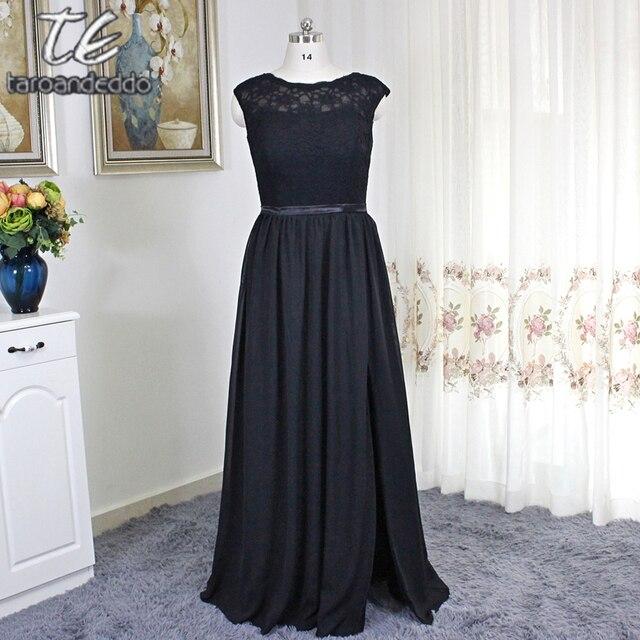 b7a60503002 High Neck Lace and Chiffon Front Slit Black Bridesmaid Dress Plus Size  Party Dress V-back Floor Length vestidos de fiesta