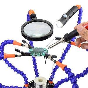 Image 1 - ידיים עוזרת הלחמה כלי 6 זרועות גמישות שש זרוע הלחמה תחנת עם מסתובב תנין קליפ עבור תיקון דוגמנות מלאכות