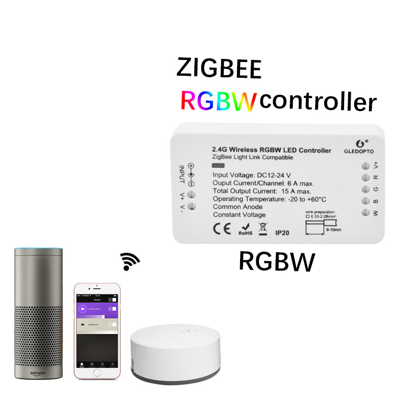New Led ZIGBEE Led rgbw Controller 12V 24V lightify tradfri compatible LED controller RGBW zigbee controller zll app controller home smart rgb rgbw zigbee led strip controller zigbee app control zll light hue compatible with echo plus osram lightify wifi