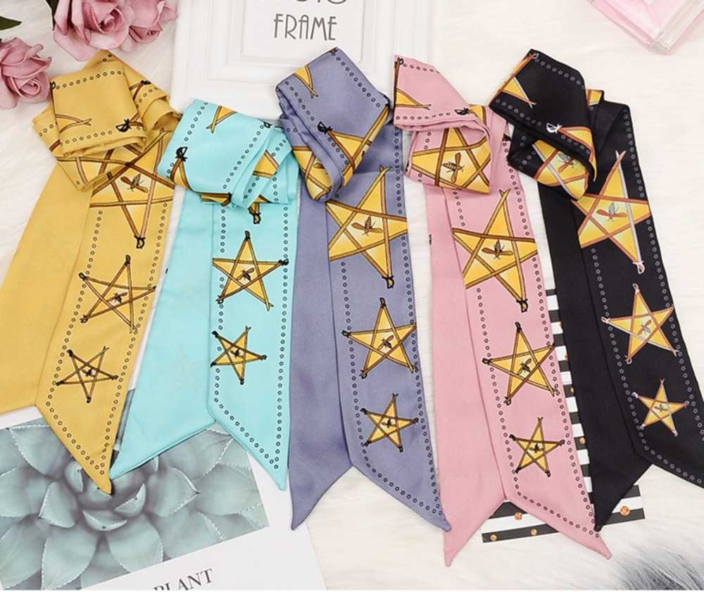 New Print Stars   Scarf   Women Faux Silk   Scarf   Bag   Scarf   Female Head   Scarves     Wraps   Brand Silk Foulard For Ladies