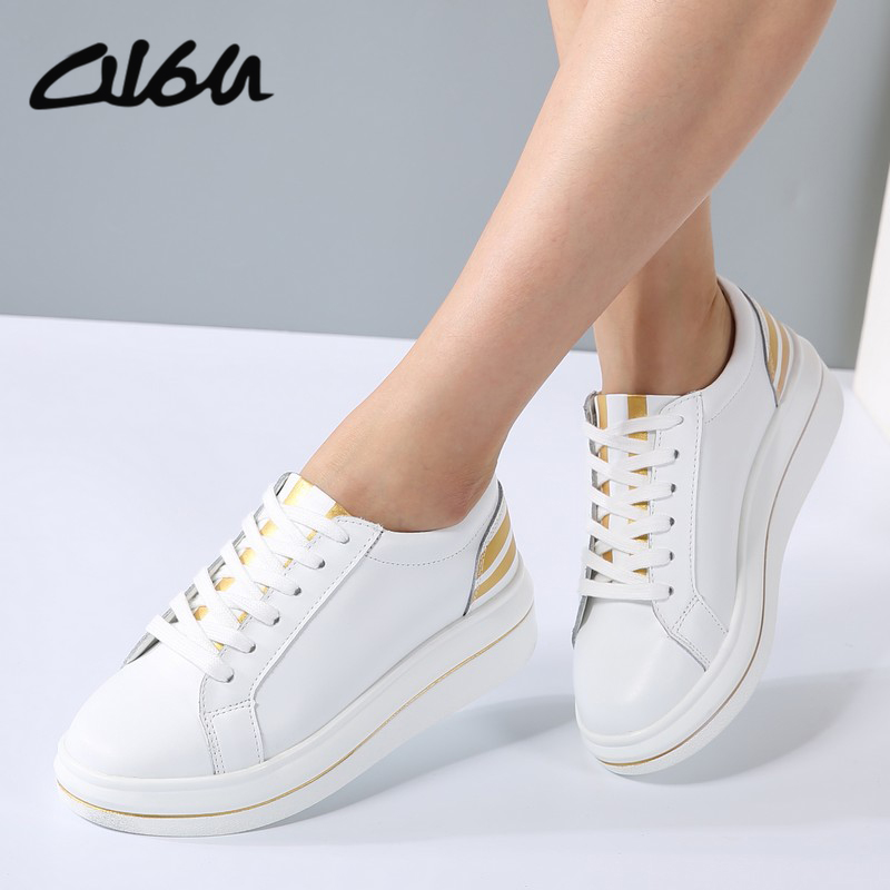 O16U Women Sneakers Platform Casual Shoes Genuine Leather Striped Printing Lace Ladies L ...