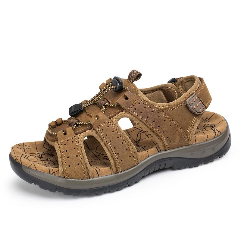 Kulit Asli Pria Sandal Musim Panas Pantai Sepatu Fashion Baru - Sepatu Pria - Foto 2