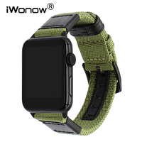 Canvas Nylon Watchband for iWatch Apple Watch 38mm 42mm 40mm 44mm Series 1 2 3 4 Leather Band 316L Steel Buckle Strap Wrist Belt